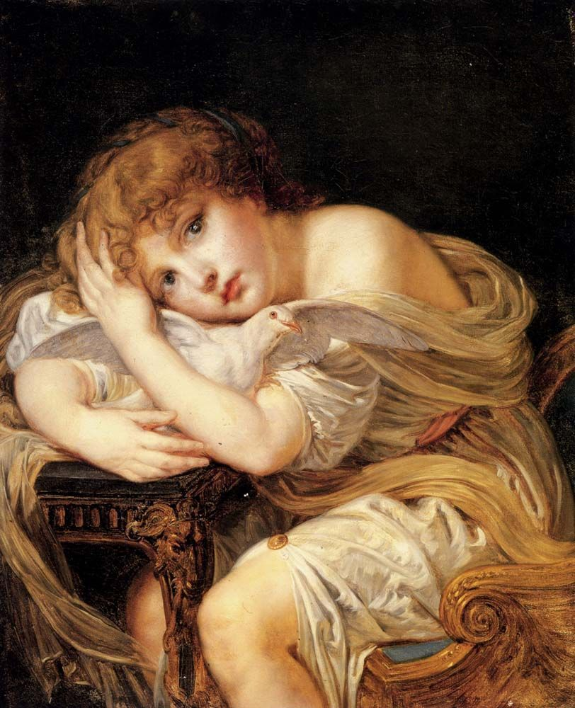 GREUZE Jeune fille à la colombe
