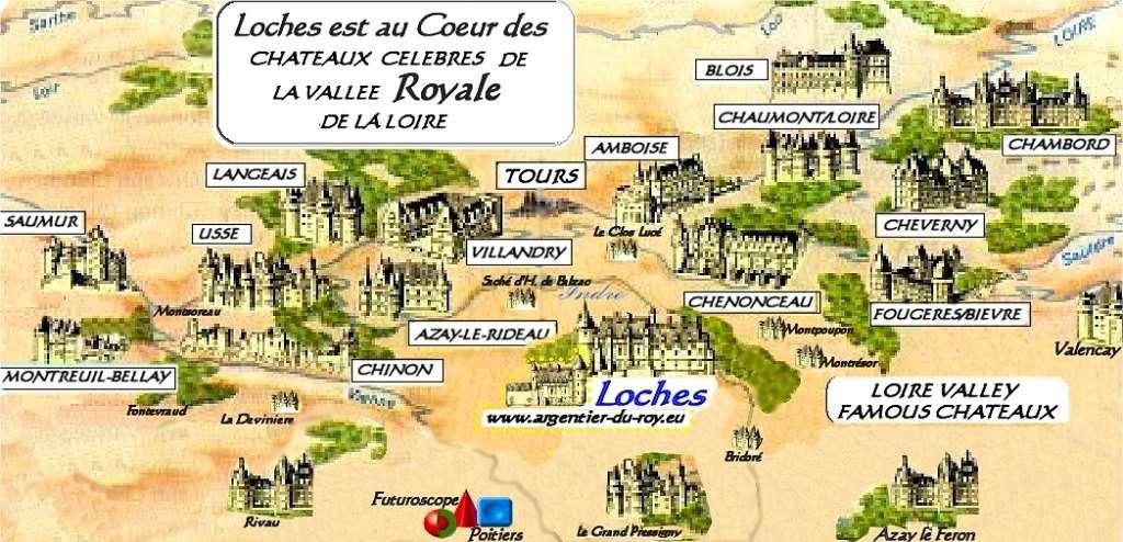 CARTE des Châteaux de la LOIRE.§§