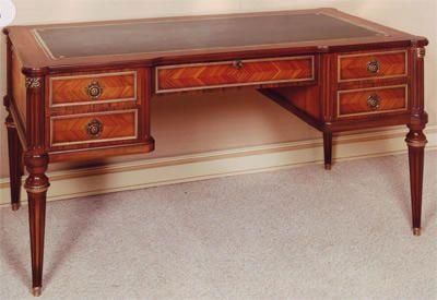 bureau louis xvi marquetterie bois de rose dessus cuir. Black Bedroom Furniture Sets. Home Design Ideas